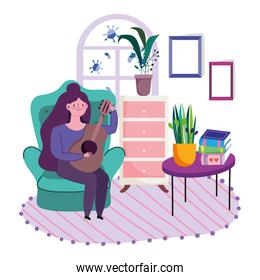 stay at home, cartoon young woman playing guitar in room with books on table