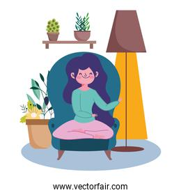 stay at home, young woman cartoon in chair with lamp