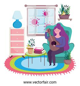 stay at home, young woman with guitar in cartoon room