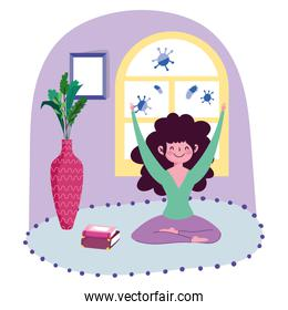 stay at home, young girl practicing yoga in carpet room cartoon