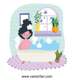 stay at home, young woman relaxing in bathtub room with plants in pots