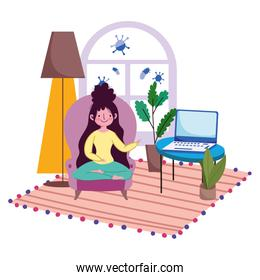 stay at home, young woman in chair with laptop in the room cartoon