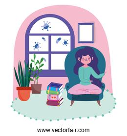 stay at home, young woman in chair with pile of books in the room cartoon