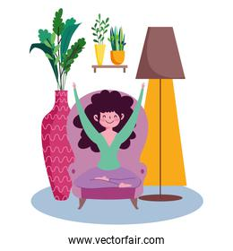 stay at home, young woman sitting on chair in the room cartoon
