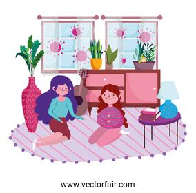 stay at home, young women sitting in floor with books on table room cartoon