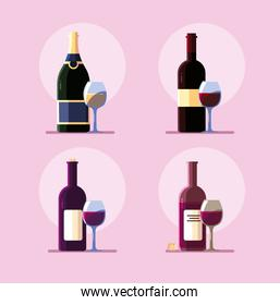 set of wine bottle with wineglass