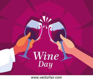 hands holding a wine glasses, label wine day