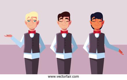 men waiters with uniform in different poses