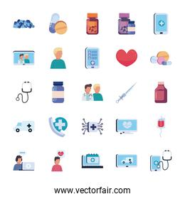Health online and medical care flat style icon set vector design