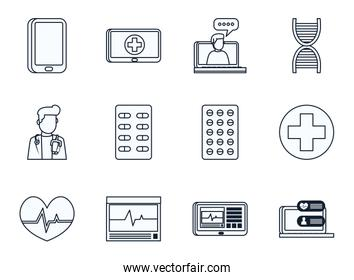Health online and medical care line style icon set vector design