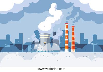 Industrial smoke clouds on city landscap, nuclear reactor environmental pollution