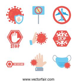 forbidden signs and stop covid19 icon set, flat style