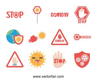 icon set of stop covid19 and stop signs, flat style