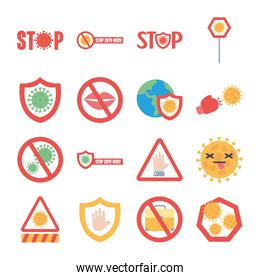 shields and stop covid19 icon set, flat style