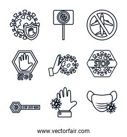 forbidden signs and stop covid19 icon set, line style