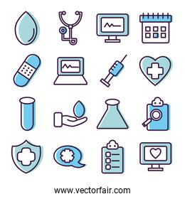 stethoscope and healthcare icon set, line color style