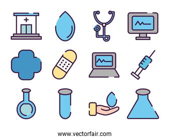 hospital building and healthcare icon set, line color style