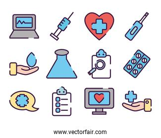 medical reports and healthcare icon set, line color style