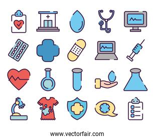cardio hearts and healthcare icon set, line color style