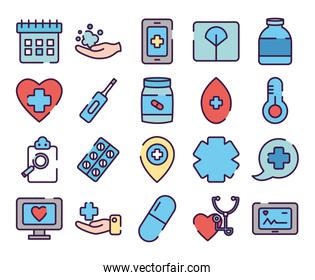 ambulance and healthcare icon set, line color style