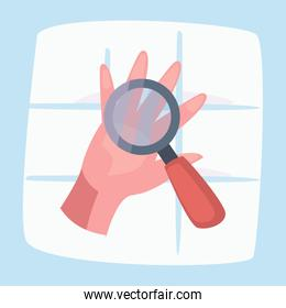 lupe over clean hand vector design