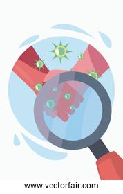 Hands with Covid 19 virus and lupe vector illustration