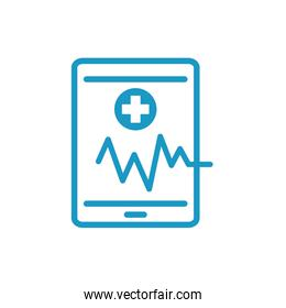 medical ekg cardiology in smartphone line icon