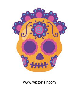 traditional mexican skull head with flowers detaild style