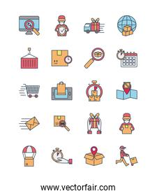 container and fast delivery icon set, line and fill style