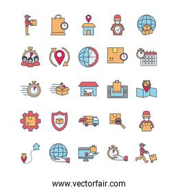 computers and fast delivery icon set, line and fill style
