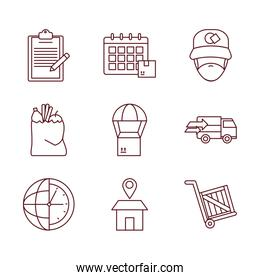 calendar and fast delivery icon set, line style