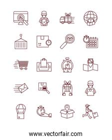 container and fast delivery icon set, line style
