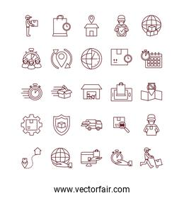 computers and fast delivery icon set, line style
