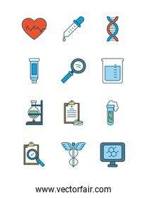 cardio heart with medical, science and investigation icon set, line and fill style