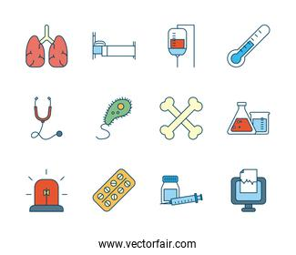 human organs with medical, science and investigation icon set, line and fill style