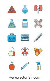nuclear symbol and science and investigation icon set, line and fill style