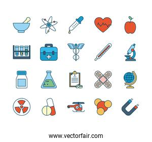chemical flasks and medical, science and investigation icon set, line and fill style