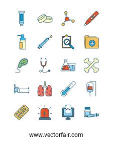 syringes with science and investigation icon set, line and fill style