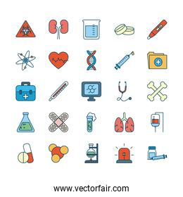 dna chain with medical, science and investigation icon set, line and fill style