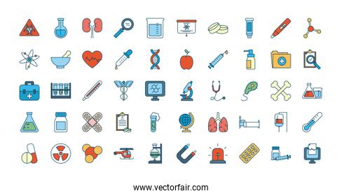medical, science and investigation icon set, line and fill style