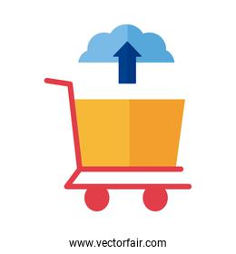 cloud computing with shopping cart Payment online flat style