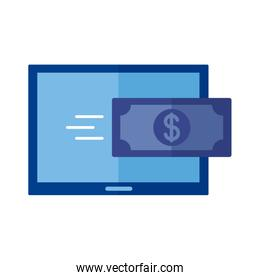 bill dollar with tablet Payment online flat style icon