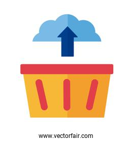 cloud computing with shoping basket Payment online flat style