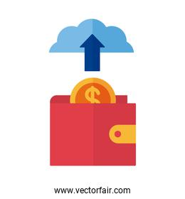 wallet with coin and cloud computing payment online flat style