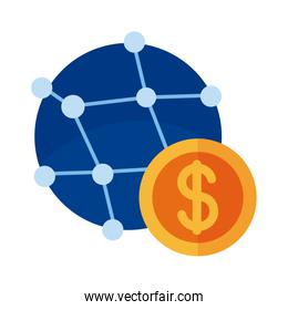 coin money with sphere planet payment online flat style