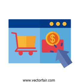 template web with coin and cart shopping payment online flat style
