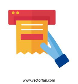 hand with paper receipt Payment online flat style