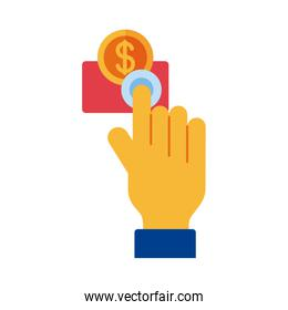 hand with coin money dollar payment online flat style