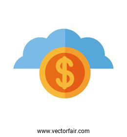 coin dollar in cloud computing payment online flat style