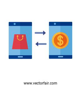 coin dollar and shopping bag in smartphones payment online flat style
